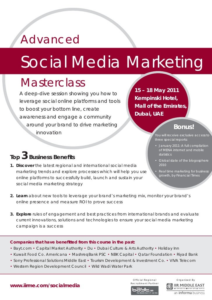 Advanced      Social Media Marketing      Masterclass                                                                 15 –...