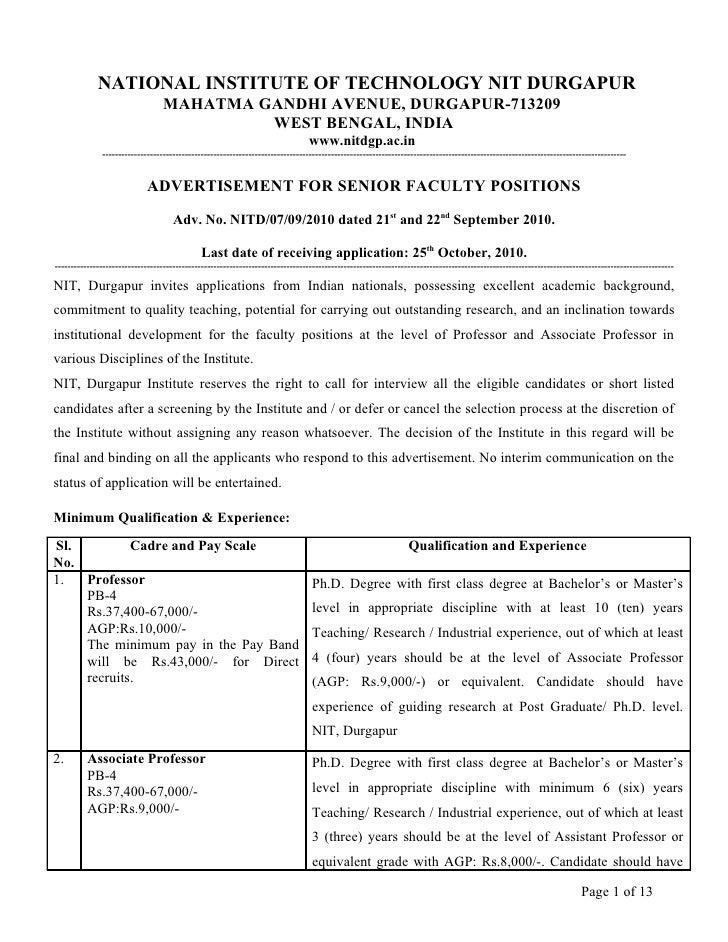 NIT Durgapur Jobs advt