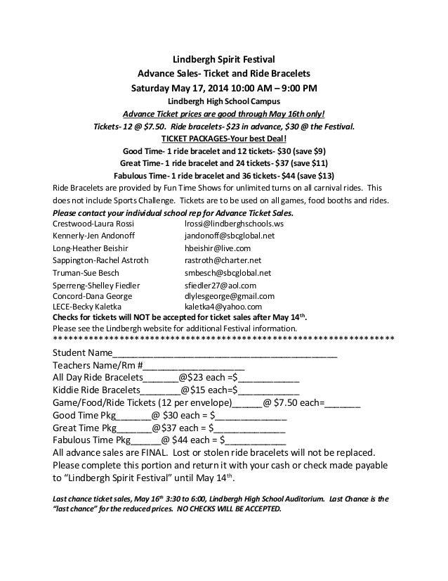 Lindbergh Spirit Festival Advance Sales- Ticket and Ride Bracelets Saturday May 17, 2014 10:00 AM – 9:00 PM Lindbergh High...