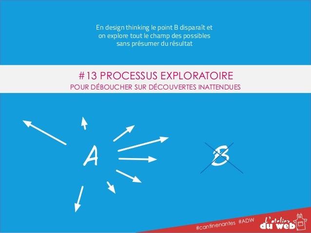 En design thinking le point B disparaît et  on explore tout le champ des possibles  #13 PROCESSUS EXPLORATOIRE  POUR DÉBOU...