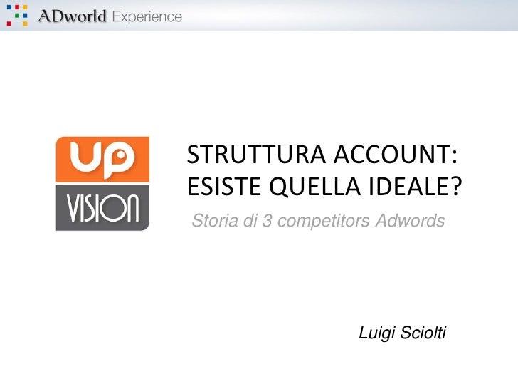 STRUTTURA ACCOUNT:ESISTE QUELLA IDEALE?Storia di 3 competitors Adwords                    Luigi Sciolti
