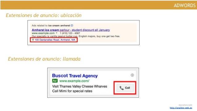 @analisisweb http://analisis-web.es ADWORDS Extensiones de anuncio: ubicación Extensiones de anuncio: llamada