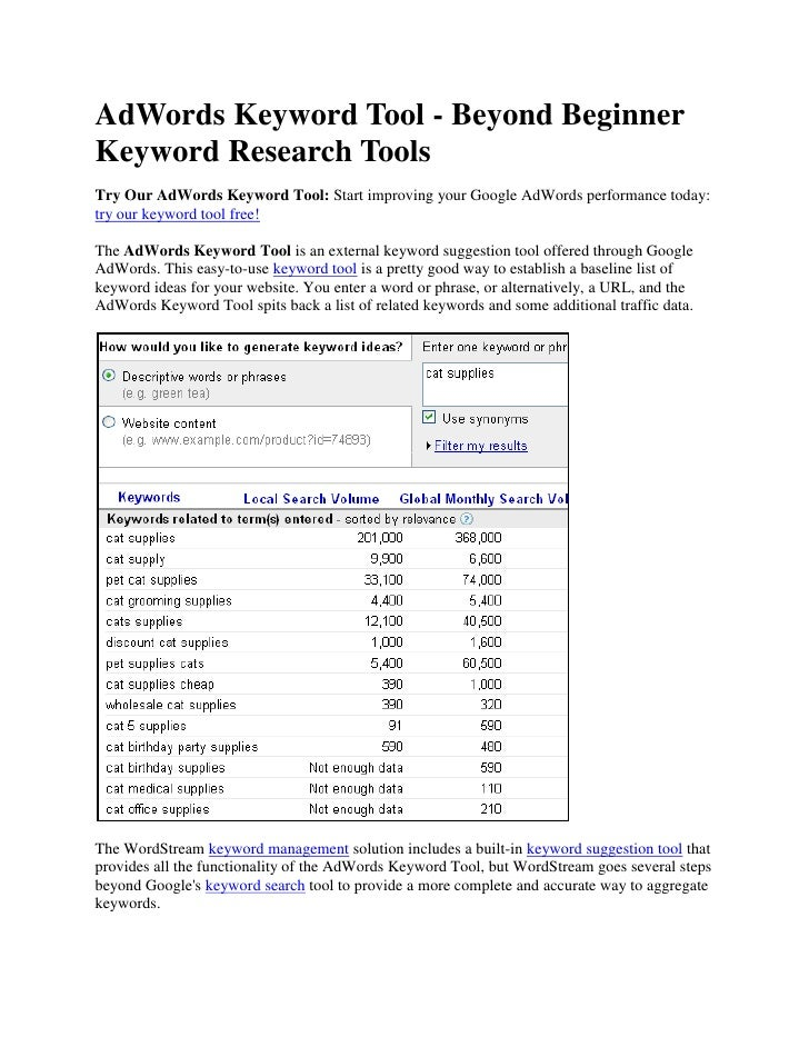 AdWords Keyword Tool - Beyond Beginner Keyword Research Tools<br />Try Our AdWords Keyword Tool: Start improving your Goog...