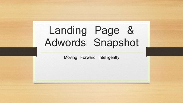 Landing Page & Adwords Snapshot Moving Forward Intelligently
