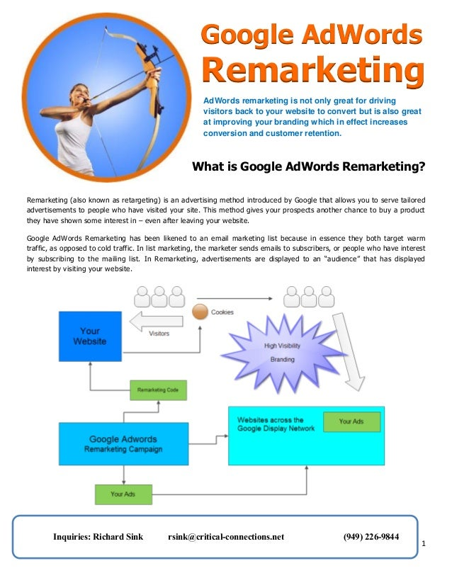 Google AdWords  Remarketing AdWords remarketing is not only great for driving visitors back to your website to convert but...