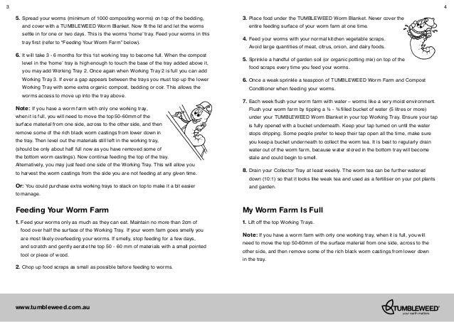 tumbleweed worm farm instructions