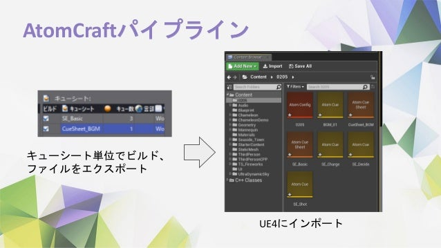 AtomCraftパイプライン キューシート単位でビルド、 ファイルをエクスポート UE4にインポート