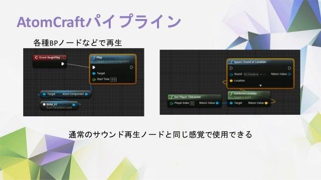 AtomCraftパイプライン 各種BPノードなどで再生 通常のサウンド再生ノードと同じ感覚で使用できる
