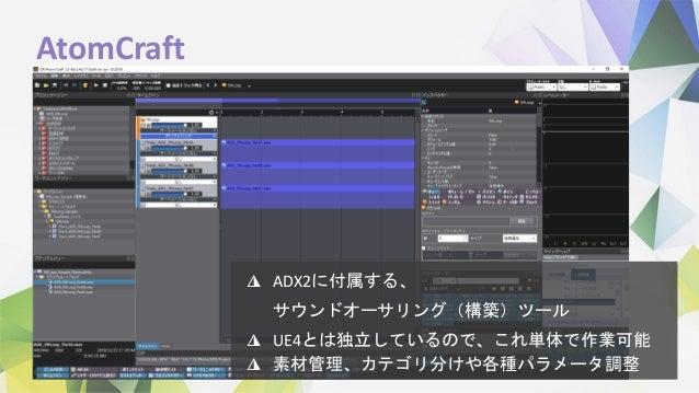 AtomCraft ◮ ADX2に付属する、 サウンドオーサリング(構築)ツール ◮ UE4とは独立しているので、これ単体で作業可能 ◮ 素材管理、カテゴリ分けや各種パラメータ調整