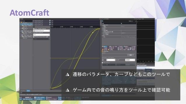 AtomCraft ◮ 遷移のパラメータ、カーブなどもこのツールで ◮ ゲーム内での音の鳴り方をツール上で確認可能