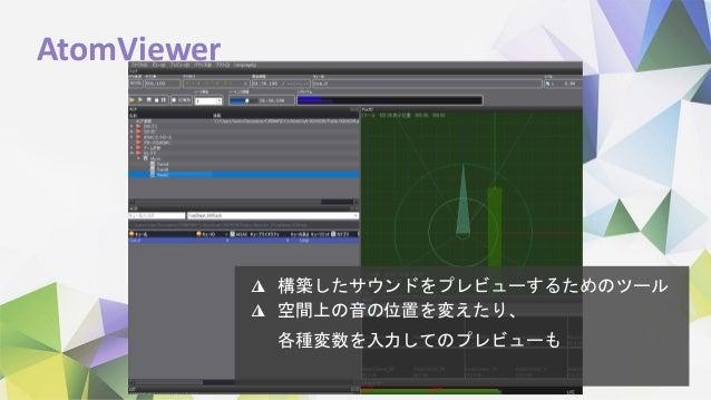 AtomViewer ◮ 構築したサウンドをプレビューするためのツール ◮ 空間上の音の位置を変えたり、 各種変数を入力してのプレビューも