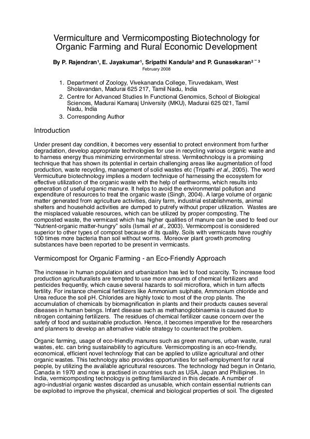 Vermiculture and Vermicomposting Biotechnology for Organic Farming and Rural Economic Development By P. Rajendran¹, E. Jay...
