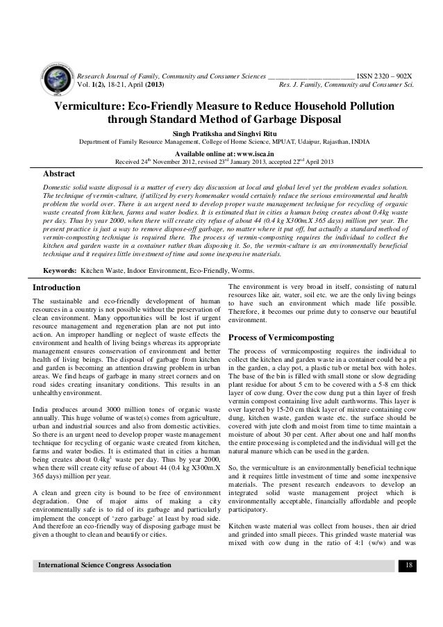Research Journal of Family, Community and Consumer Sciences ________________________ ISSN 2320 – 902X Vol. 1(2), 18-21, Ap...
