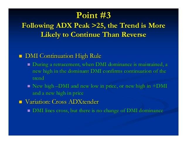 --DMI Continuation HighDMI Continuation High (ADXtender(ADXtender™™ Signal)Signal) Price