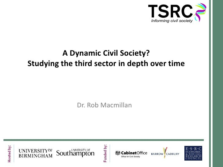 A Dynamic Civil Society? Studying the third sector in depth over time Dr. Rob Macmillan