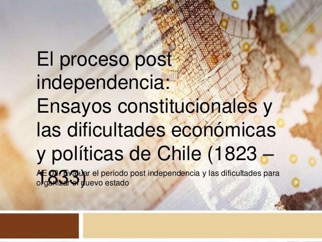 AE 03: Evaluar el período post independencia y las dificultades para organizar el nuevo estado El proceso post independenc...