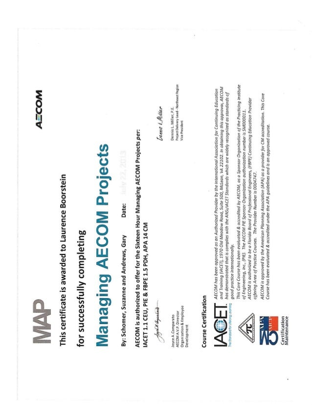 Managing AECOM Projects Certificate