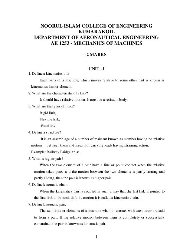NOORUL ISLAM COLLEGE OF ENGINEERING KUMARAKOIL DEPARTMENT OF AERONAUTICAL ENGINEERING AE 1253 - MECHANICS OF MACHINES 2 MA...