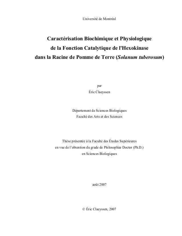 Université de Montréal Caractérisation Biochimique et Physiologique de la Fonction Catalytique de l'Hexokinase dans la Rac...