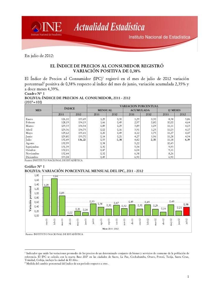 En julio de 2012:                                          EL ÍNDICE DE PRECIOS AL CONSUMIDOR REGISTRÓ                    ...