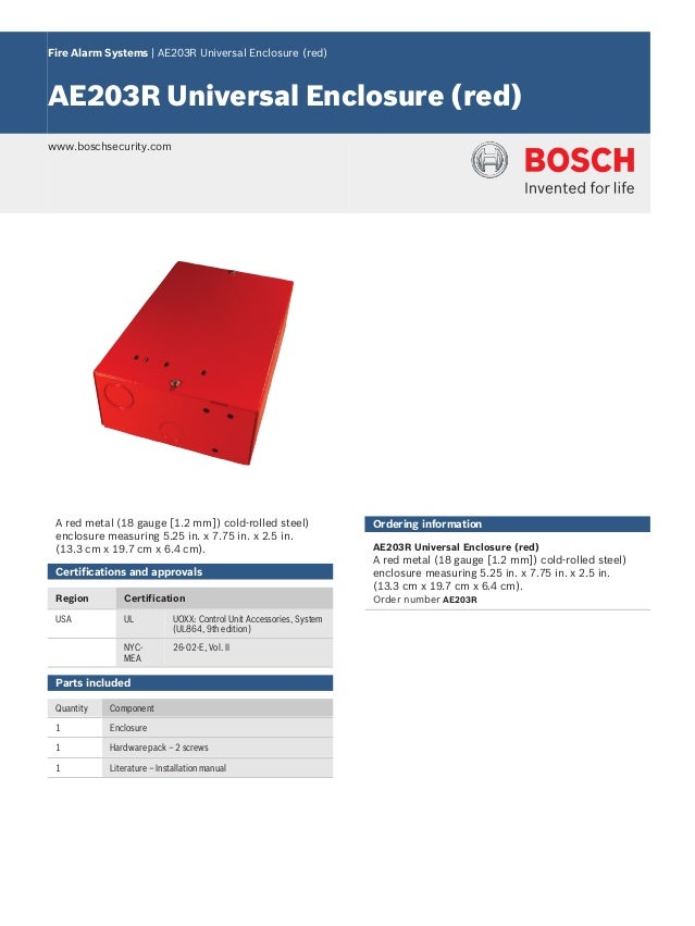 Fire Alarm Systems | AE203R Universal Enclosure (red) AE203R Universal Enclosure (red) www.boschsecurity.com A red metal (...