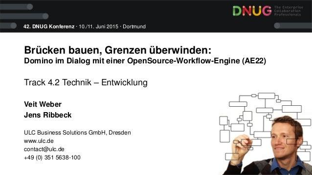 42. DNUG Konferenz · 10./11. Juni 2015 · Dortmund Brücken bauen, Grenzen überwinden: Domino im Dialog mit einer OpenSource...