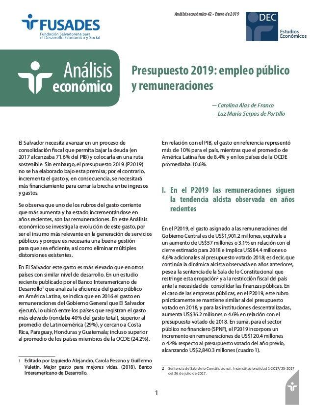 1 Estudios Económicos DECAnálisiseconómico42•Enerode2019 Presupuesto 2019: empleo público y remuneraciones Análisis económ...