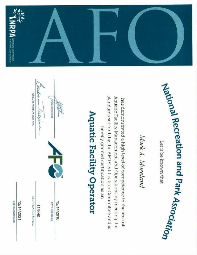 AFO Certificate