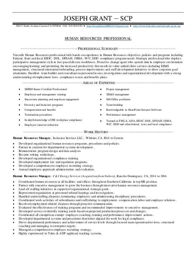 Joseph Grant HRM Resume
