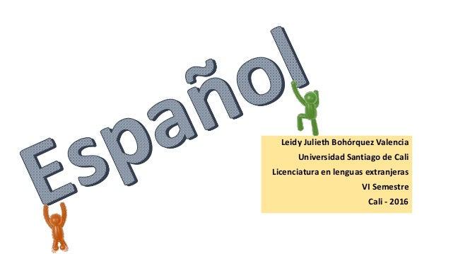 Leidy Julieth Bohórquez Valencia Universidad Santiago de Cali Licenciatura en lenguas extranjeras VI Semestre Cali - 2016