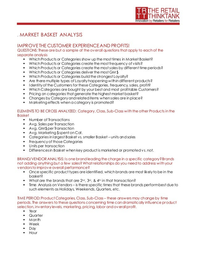 . MARKET BASKET ANALYSIS IMPROVETHE CUSTOMER EXPERIENCEAND PROFITS! QUESTIONS: These are but a sample of the overall quest...