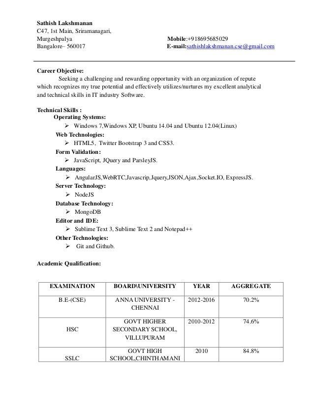 Sathish Lakshmanan C47, 1st Main, Sriramanagari, Murgeshpalya Mobile:+918695685029 Bangalore– 560017 E-mail:sathishlakshma...