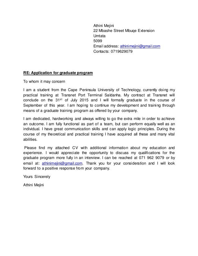Cover letter for it graduate programme
