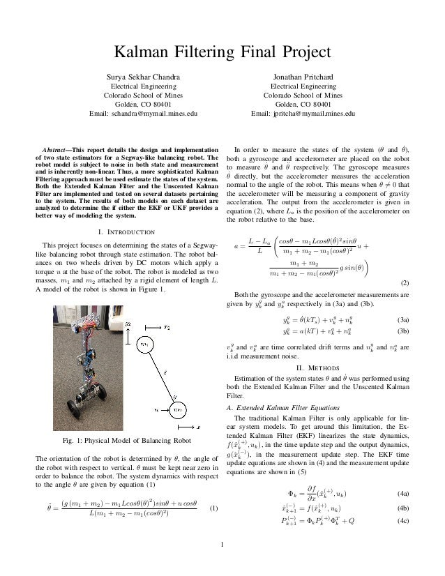 Balancing Robot Kalman Filter Design – Estimation Theory Project
