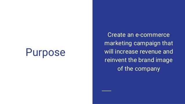 Purpose Create an e-commerce marketing campaign that will increase revenue and reinvent the brand image of the company
