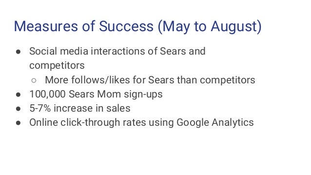 Measures of Success (May to August) ● Social media interactions of Sears and competitors ○ More follows/likes for Sears th...