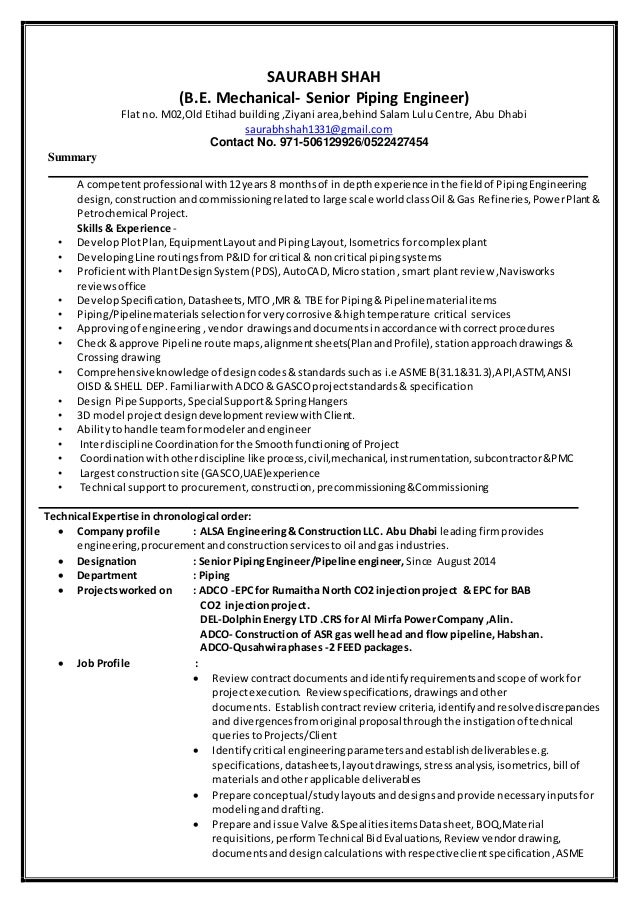 Piping Engineer Cv Zanka Opencertificates Co