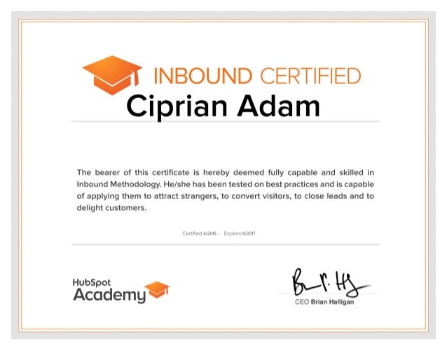 Ciprian Adam.Hubspot Inbound Certified