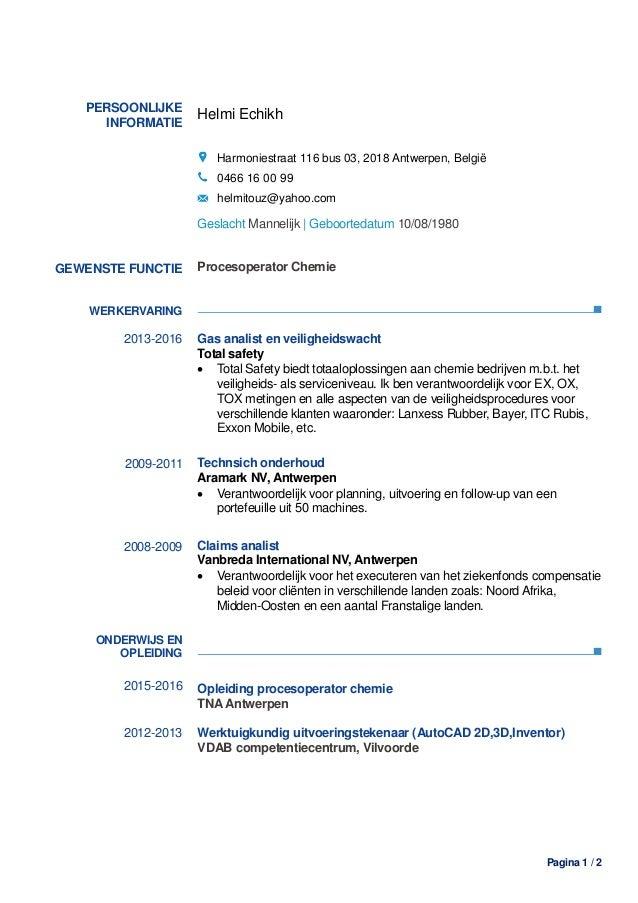 Helmi Echikh CV + Certificaat van de opleiding Procesoperator Chemie
