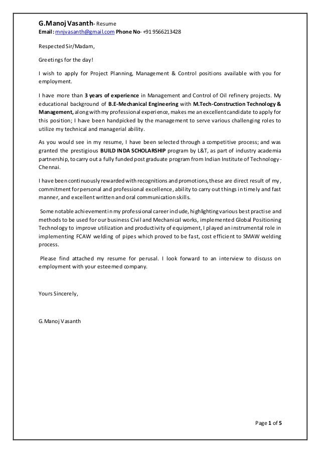 Cover letter resume g manoj vasanth for Explore learning cover letter
