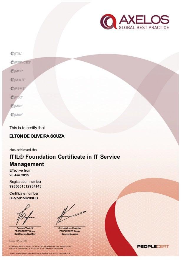 Itil Certificate Number Gr750150209ed Elton Souza