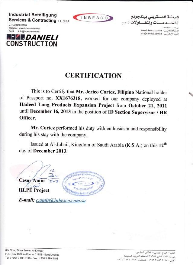 INBESCO CERTIFICATIOI{ This is to Certify that Mr. Jerico Cortez, Filipino National holder of Passport no. ><x16763180 wor...