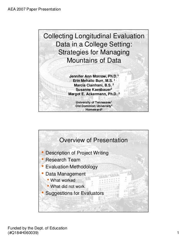 AEA 2007 Paper Presentation                   Collecting Longitudinal Evaluation                       Data in a College S...