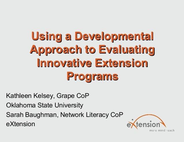 Using a DevelopmentalUsing a DevelopmentalApproach to EvaluatingApproach to EvaluatingInnovative ExtensionInnovative Exten...