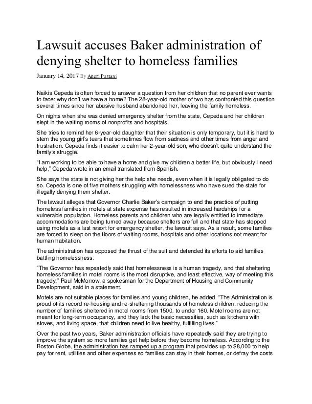 Lawsuit accuses Baker administration of denying shelter to homeless families January 14, 2017 By Aneri ...