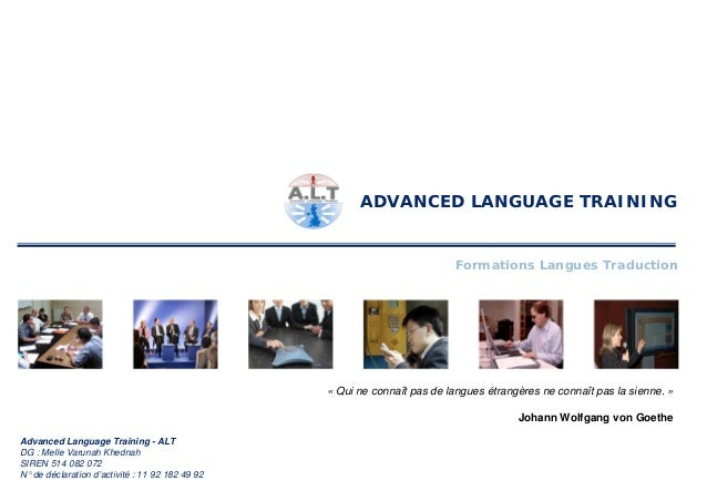 ADVANCED LANGUAGE TRAINING                                                                          Formations Langues Tra...
