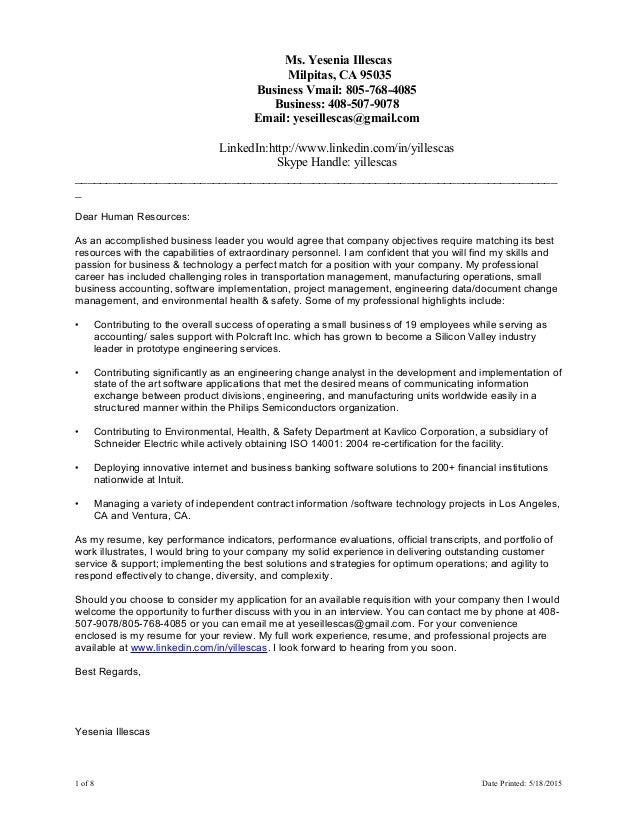 YIllescas Cover Letter Resume Combined 051815. Ms. Yesenia Illescas  Milpitas, CA 95035 Business Vmail: 805 768 4085 ...