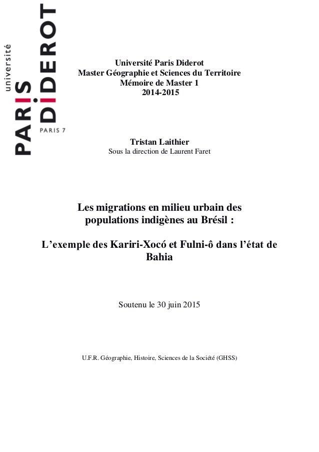 Université Paris Diderot Master Géographie et Sciences du Territoire Mémoire de Master 1 2014-2015 Tristan Laithier Sous l...