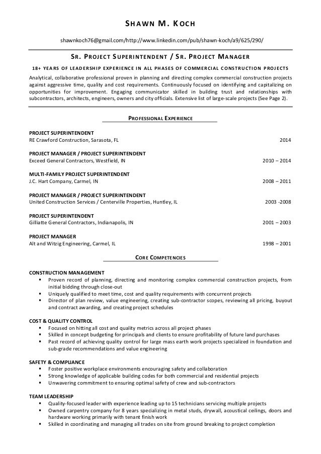 LinkedIn Project Manager And Superintendent Resume