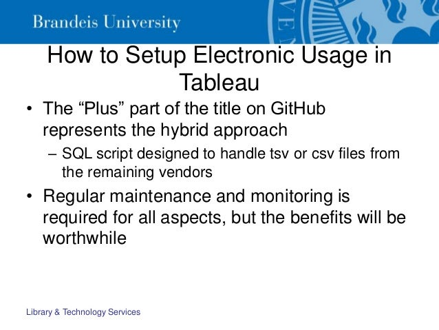 """How to Setup Electronic Usage in Tableau • The """"Plus"""" part of the title on GitHub represents the hybrid approach – SQL scr..."""